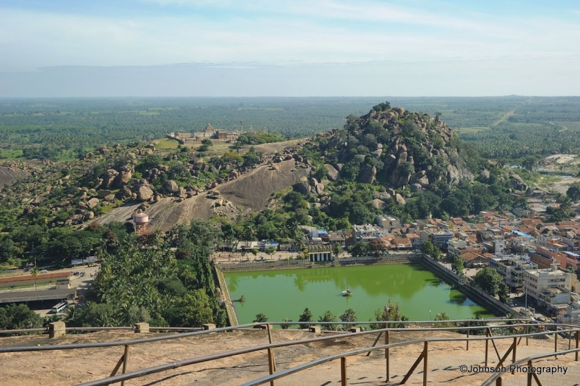 "The view of the 'White Pond"" from top of the Vindyagiri hill and in the backdrops you can see the Chandragiri hill"
