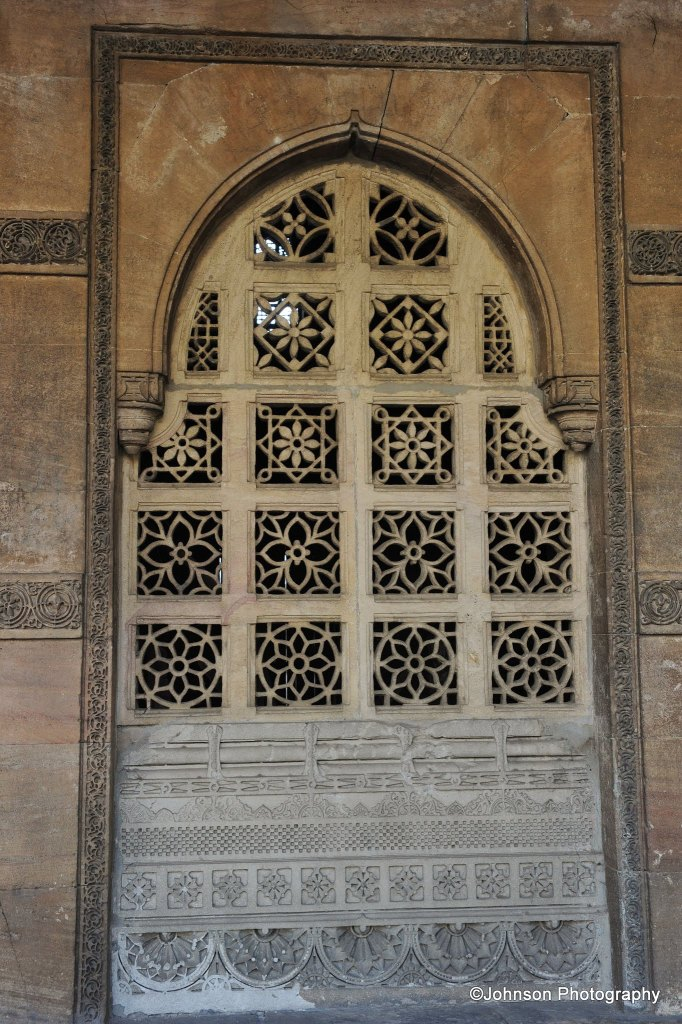 One of the lattice windows of the mausoleum