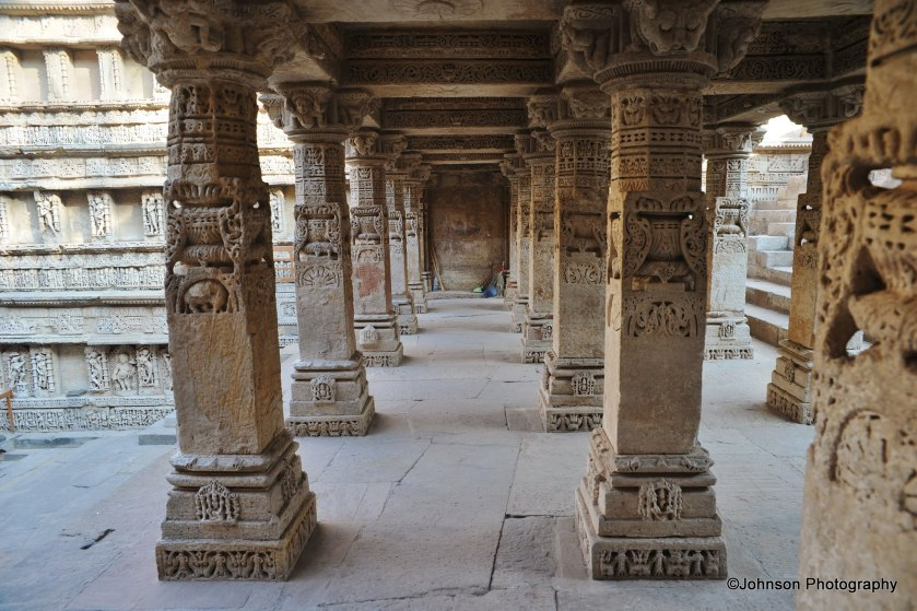 Intricately carved pillars